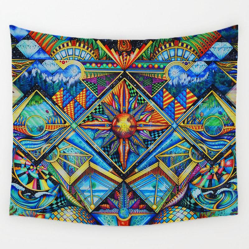 DMT Art Drawings Psychedelic Trippy Tapestry