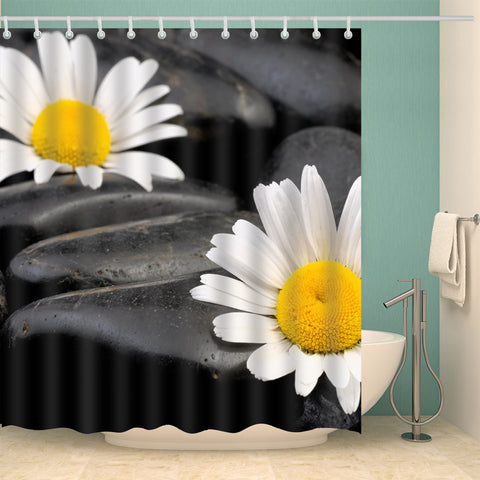 Daisies Flowers Rocks Water Shower Curtain