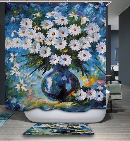 Daisies on Dramatic Blue Vase Sunflowers Shower Curtain