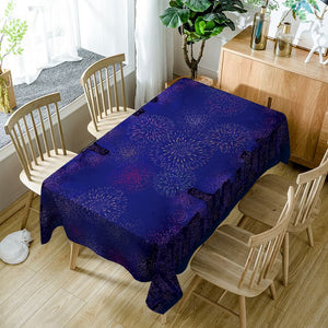 Dark Blue Glow Night Sky Firework Rectangle Table Cover