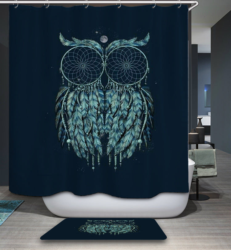 Dark Night Backdrop Glowing Dream Catcher Owl Shower Curtain