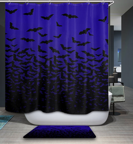 Dark Blue Horror Bat Shower Curtain