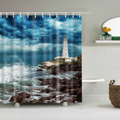 Dark Clouds Sky Beach Coast Lighthouse Shower Curtain