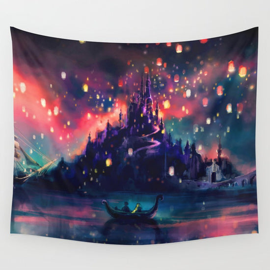 Dazzling Hallows Lantern with Castle in the Sky Tapestry