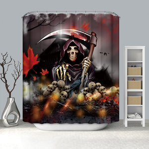 Death Grim Reaper With Sickle Skull Head Halloween Shower Curtain