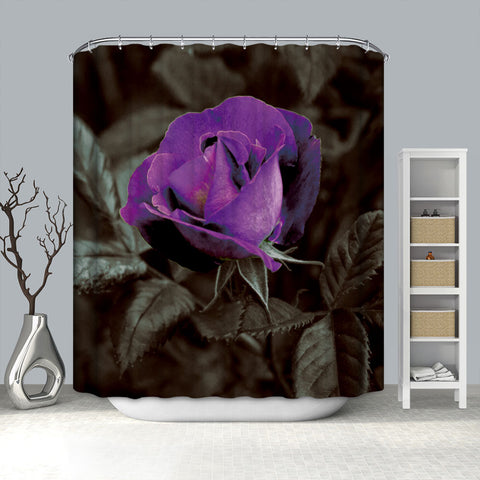 Decorative Purple Rose Shower Curtain Bathroom Decor