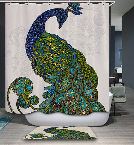 Tenda per doccia Deep Blue Eva Peacock Wall Art