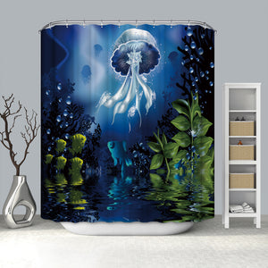 Deep See World Art Luminous Jellyfish Shower Curtain