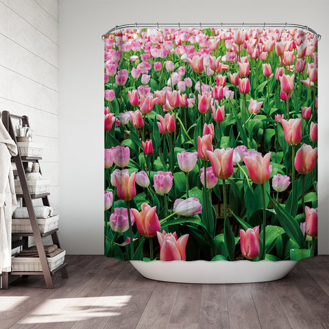 Delizia Blooming Tulip Field Shower Curtain