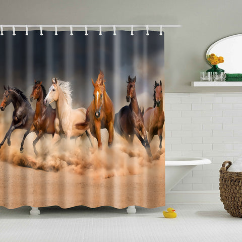 Desert Sand Wild Stallion Horse Running Shower Curtain