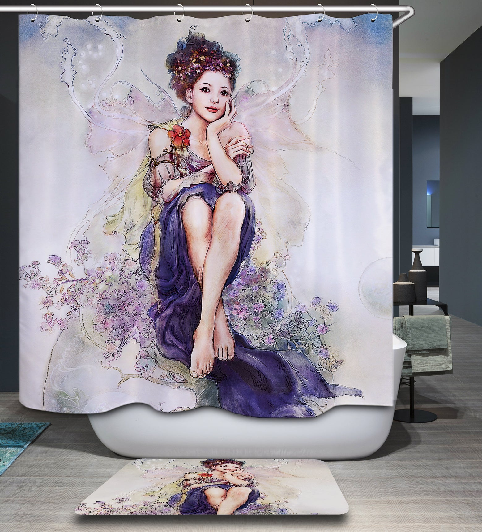 Designer Oil Painting Fairy Girl Shower Curtain