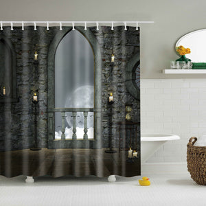 Devil Castle Moon Night Shower Curtain