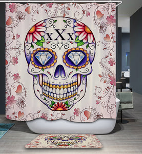 Diamond Eyes Floral Tattoo Sugar Skull Drawing Shower Curtain