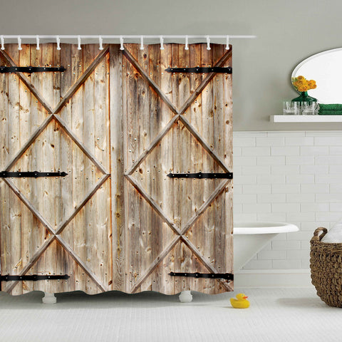 Diamond Shape Wood Barn Door Print Shower Curtain