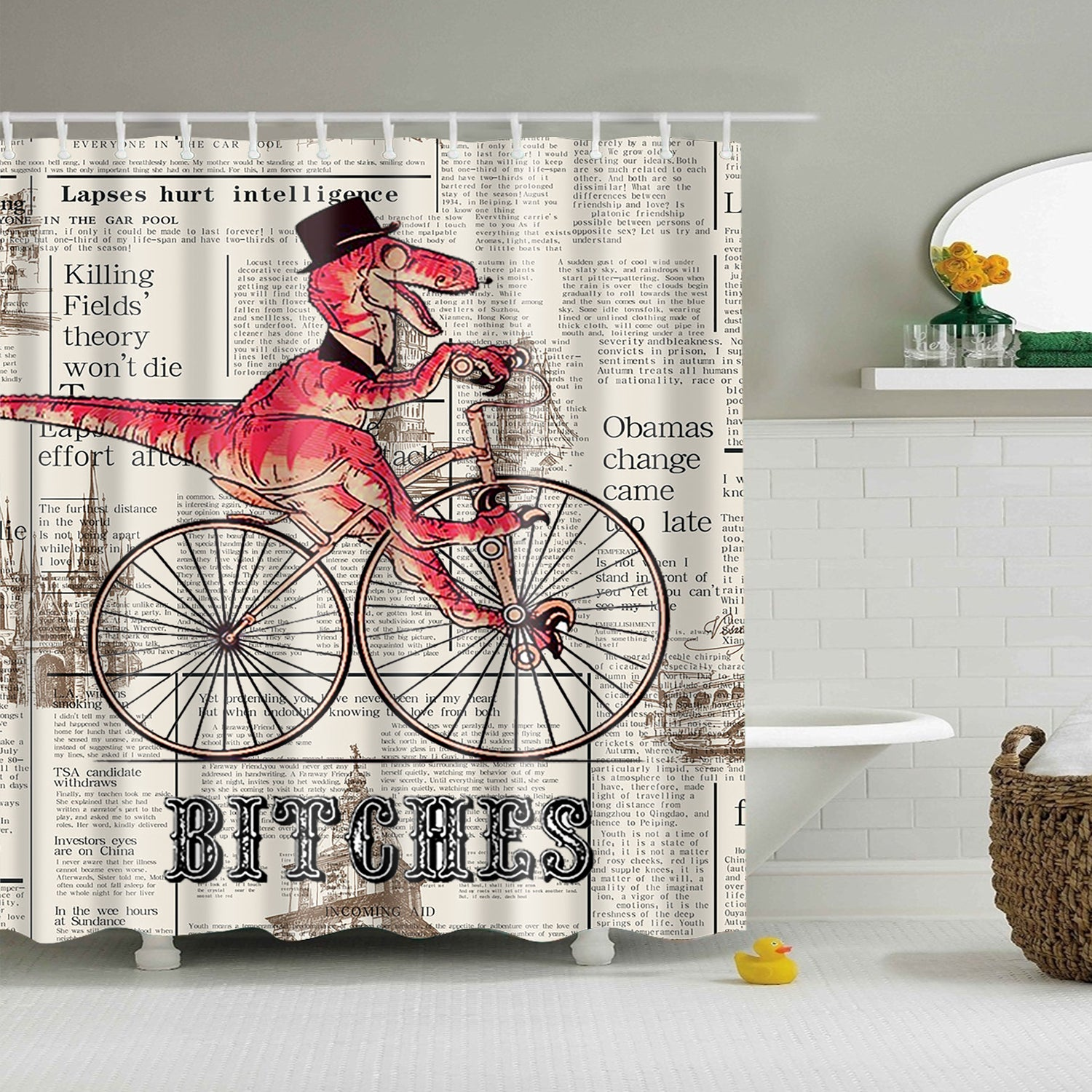 Dinosaur Ride Bike Newspaper Shower Curtain | GoJeek