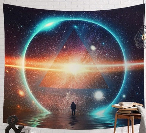 Divine Space Triangle Pyramids with Earth Shiny Galaxy Tapestry