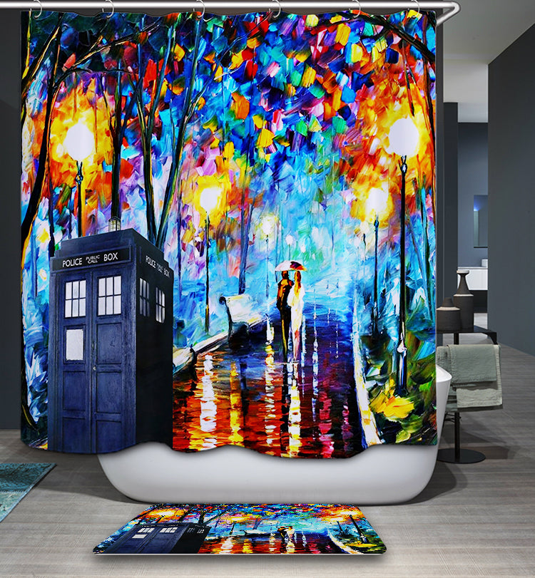 Doctor Who Tardis Police Box At Paris City Rainy Day Shower Curtain