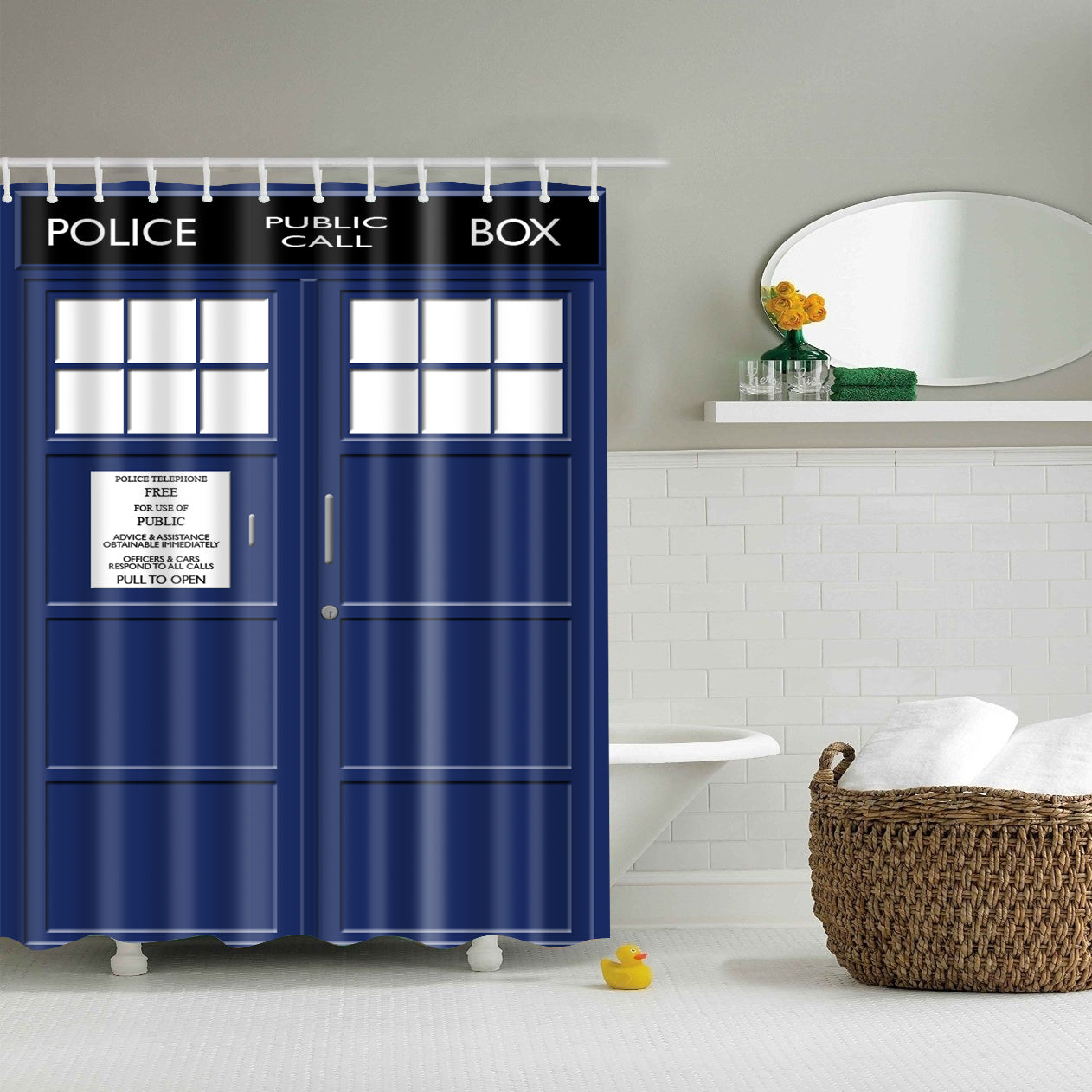 Doctor Who Tardis Police Box Shower Curtain | GoJeek
