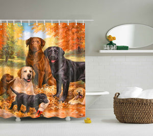 Dog Family Oil Painting Labrador Shower Curtain