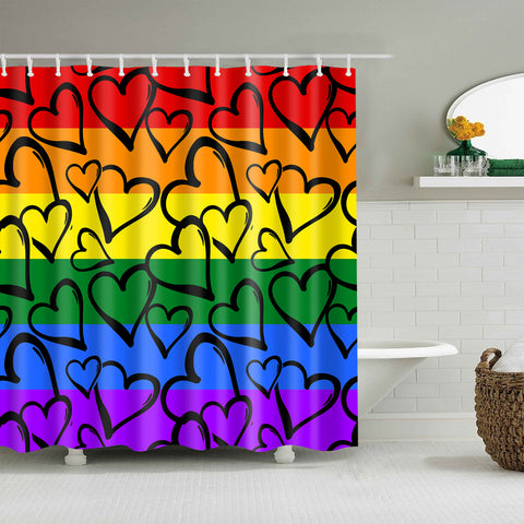 Tenda per doccia di Gay Pride Rainbow Colored Hearts di Doodle Grunge Style