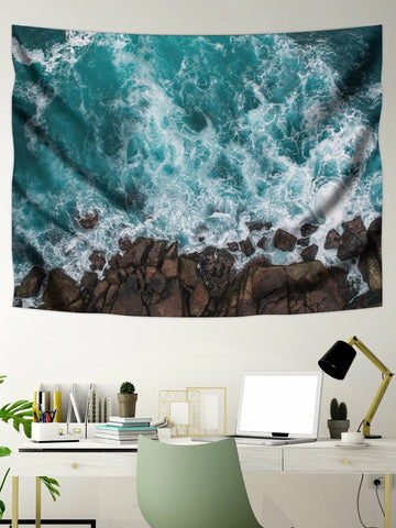 Down Look Coast Beach Waves Tapestry