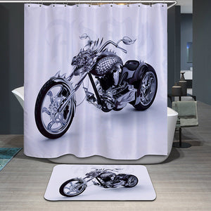 Dragon Harley Motorcycle Shower Curtain Ink Print Bath Decor | GoJeek