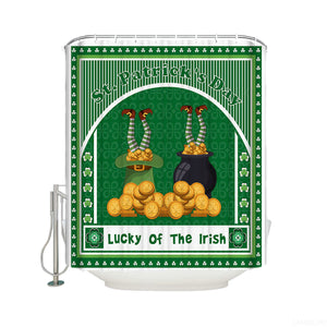 Drawn in Gold Coin Lucky of the Irish Elf St Patrick's Day Shower Curtain