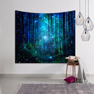 Dreamy Firefly Light Fantasy Forest Tapestry