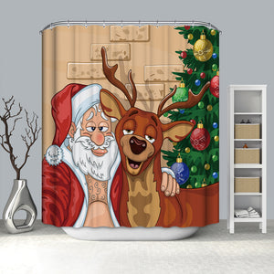 Drunk Santa with Moose Shower Curtain