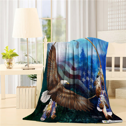 Eagle with American Flag Throw Blankets