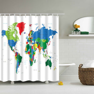 Educational Global World Map Shower Curtain | GoJeek