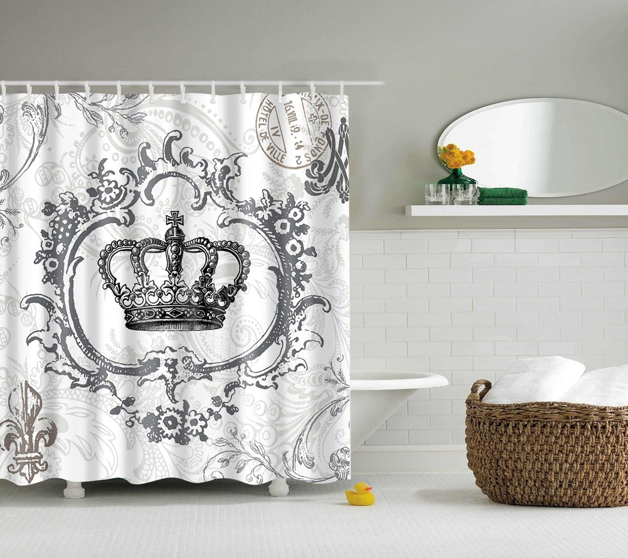 Elegance Queen Crown Design Shower Curtain