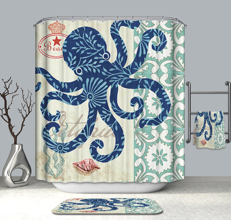 Elegant Floral Aquatic Pattern Backdrop Unique Blue Octopus Shower Curtain
