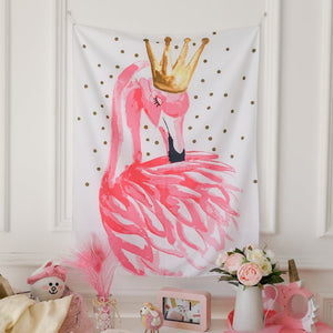 Elegant Girly Crown Flamingo Tapestry