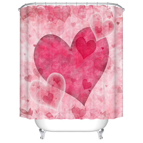 Elegant Sparkling Big Pink Heart Shower Curtain