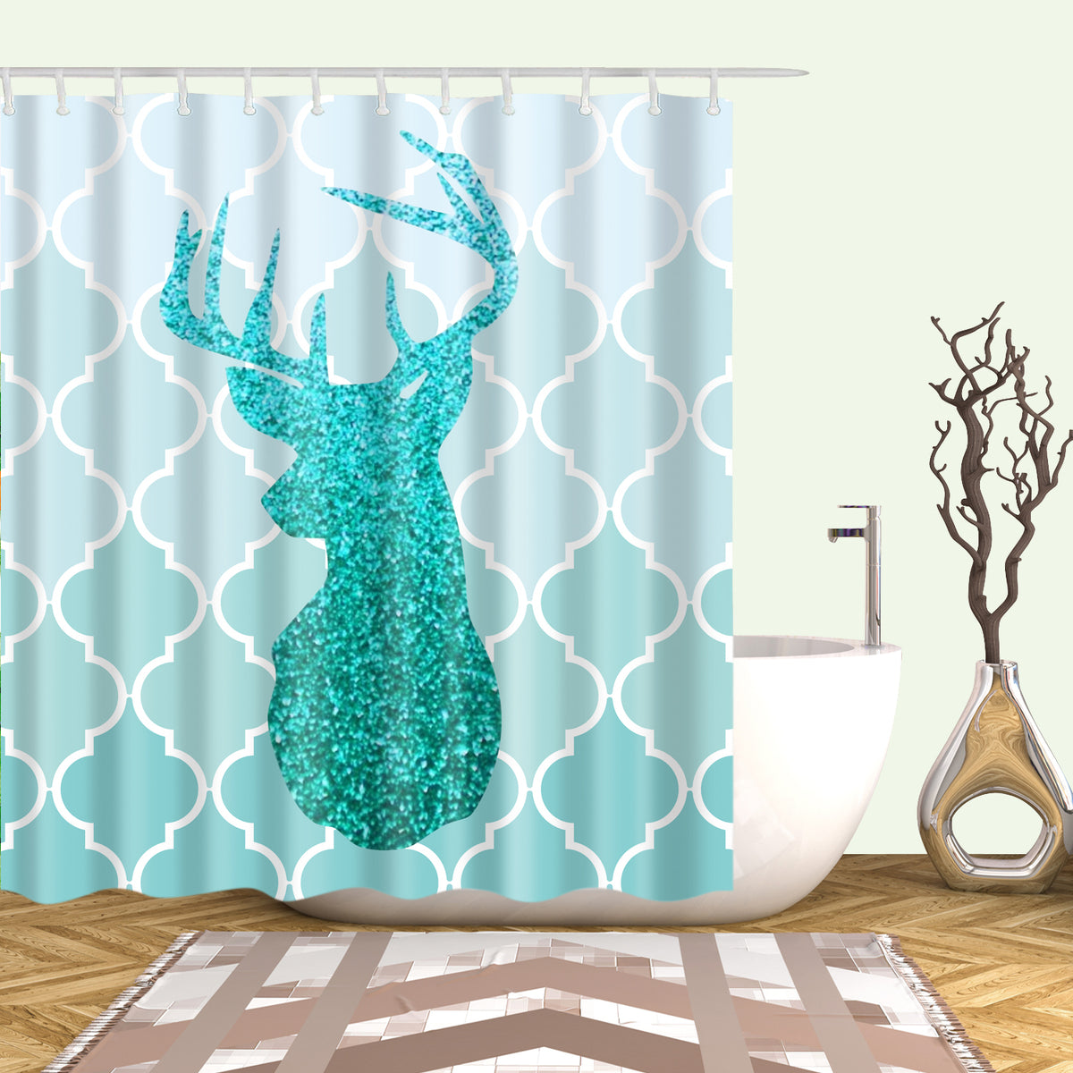 Elegant Glitter Christmas Deer Head In The Teal Shower