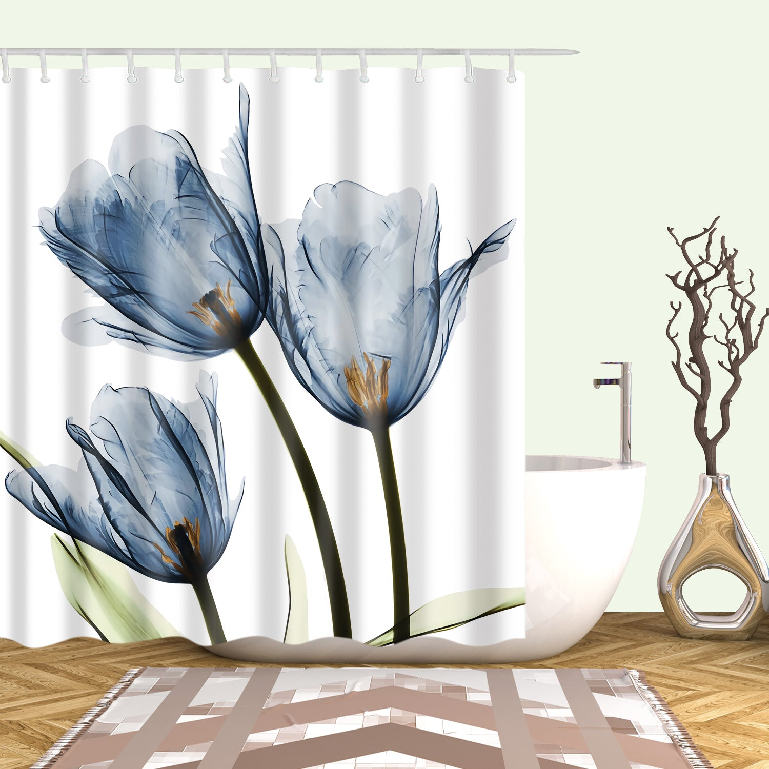 Elegant Light Blue Tulip Shower Curtain