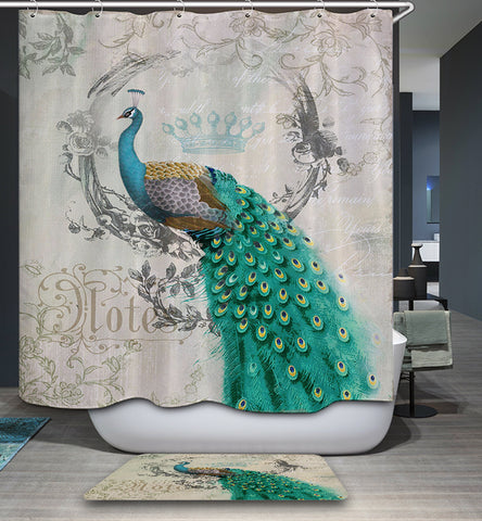 Elegant Queen Decoration Peacock Shower Curtain