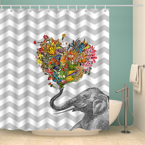 Elephant Spray Heart Shaped Flower Shower Curtain