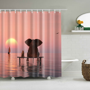 Elephant with Dog Sunset Ocean Friendship Shower Curtain