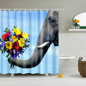 Elephant With Flower Photo Romantic Shower Curtain