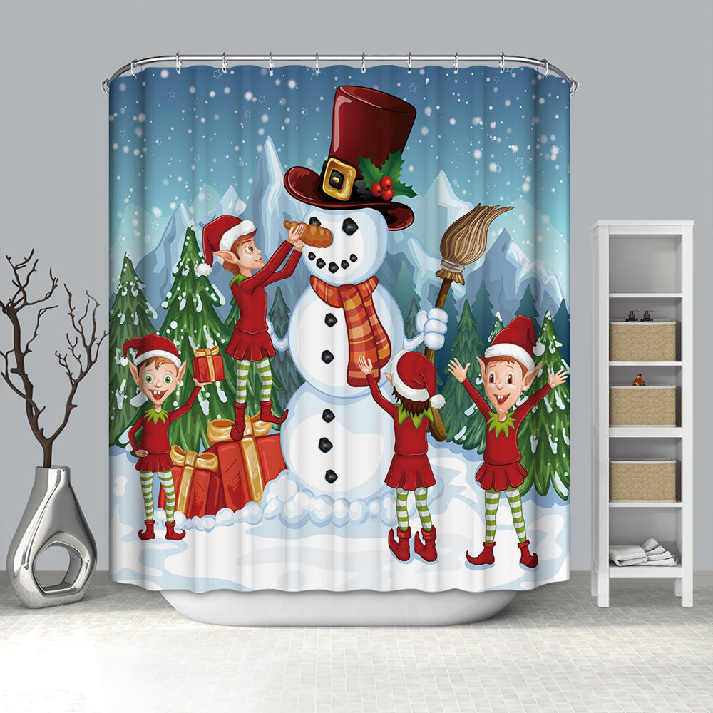 Elf Decorating Snowman Shower Curtain