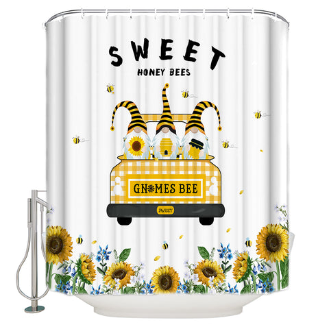 Elf in Truck with Sunflower Christmas Bee Shower Curtain