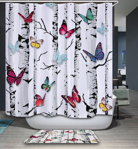 Emperors Garden Butterfly Birch Tree Shower Curtain