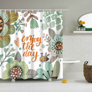 Enjoy the Day Flower Happy Girl Shower Curtain
