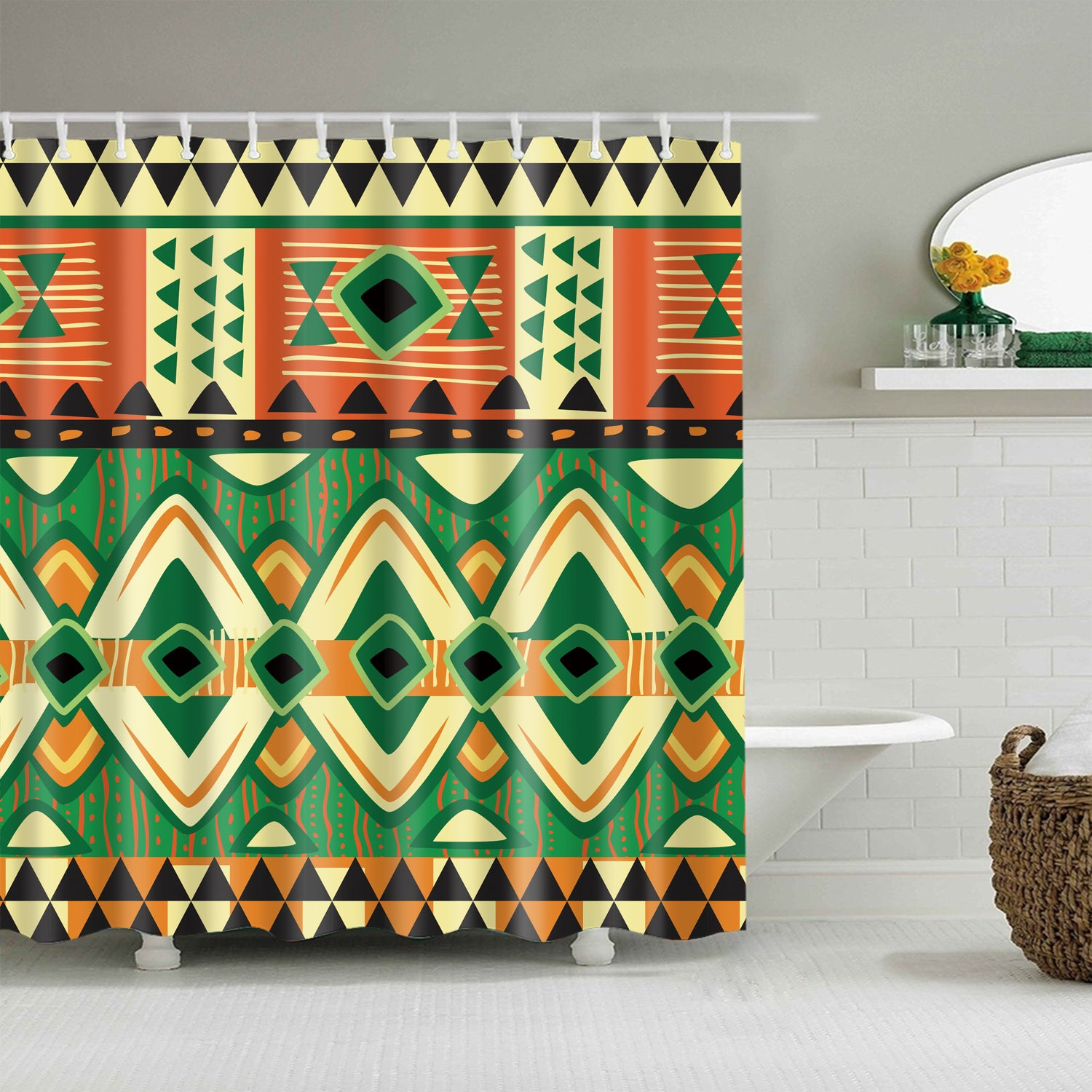 Ethnic Geometric Style Tribal Shower Curtain