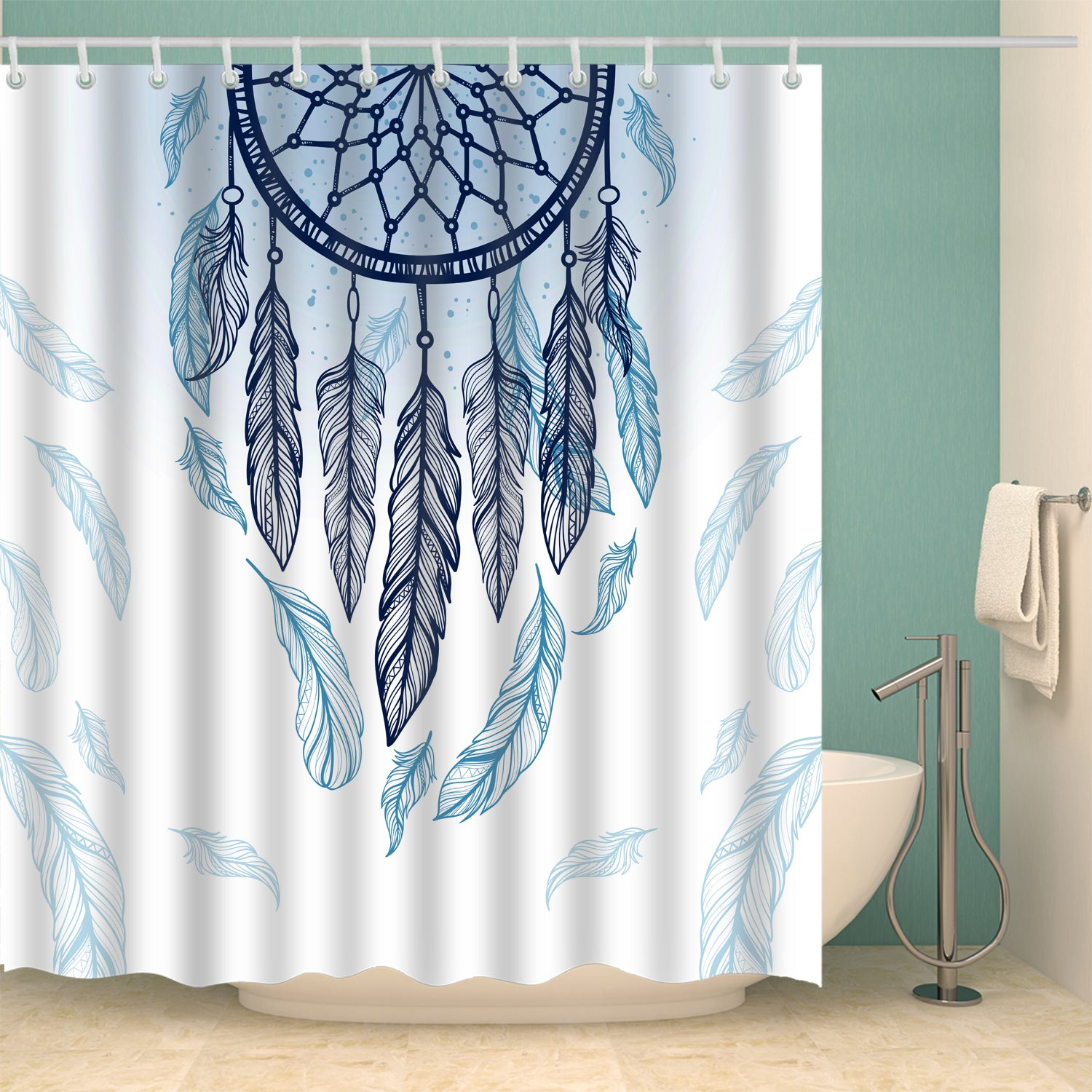 Ethnic Style Dream Catcher With Feathers Shower Curtain