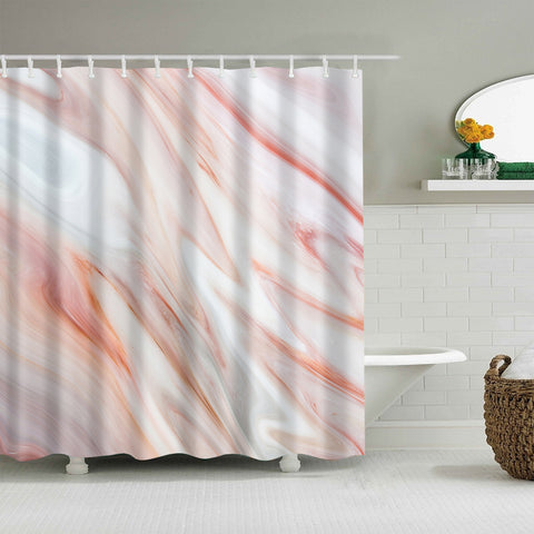 European Style Pink Marble Countertop Shower Curtain