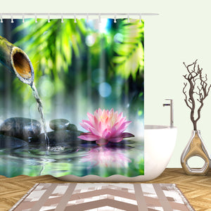 Exquisite Water lilies Zen Stone Bamboo Shower Curtain