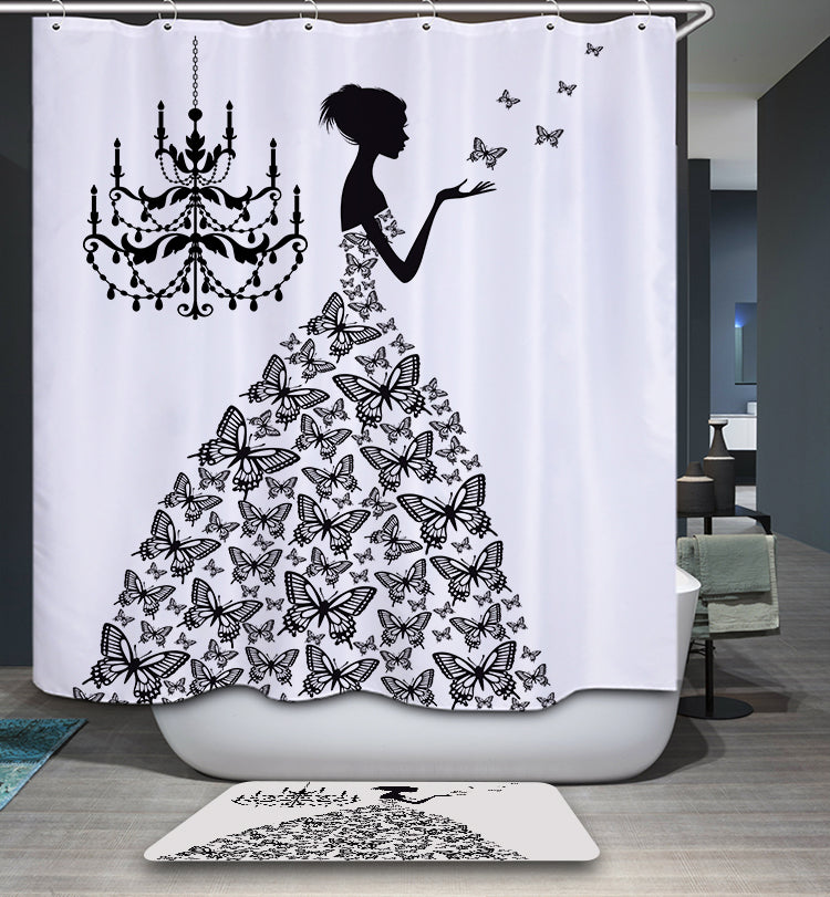 Fairy Girl Butterfly Silhouette Shower Curtain